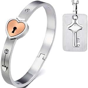 JewelryWe Gioielli bracciale e collana da uomo donna 2pezzi acciaio inossidabile oro amore cuore serratura bracciale & chiave pendente