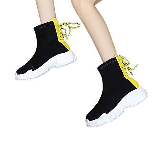 Tianwlio Frauen Herbst Winter Stiefel Schuhe Stiefeletten Boots Damen Freizeit Flache Runde Zehen Schuhe Dicke Untere Hintere Krawatte Rutschfeste Kurze Stiefel Gelb 39