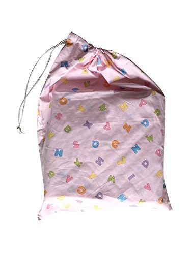 Sacchetto asilo - Letterine Colorate Rosa - 46x60 cm porta indumenti e cambio bimbo