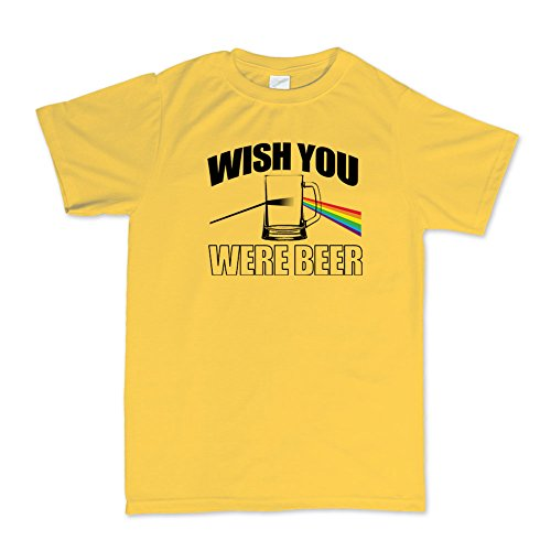 Wish You Were Beer Here Funny T-shirt Gelb