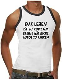 """Touchlines Men's Contrast Ringer Vest Top """"Das Leben ist zu kurz um kleine hässliche Autos zu fahren"""" (""""Life is too short to drive horrible little cars"""")"""