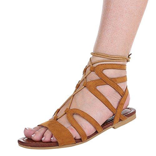 Damen Schuhe, JA67, SANDALEN, PUMPS MIT SCHNÜRUNG, Synthetik in hochwertiger Wildlederoptik , Camel, Gr 39