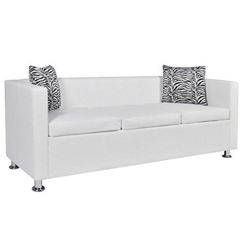 Festnight divano moderno da soggiorno in ecopelle/similpelle/pelle artificiale bianco a 3 posti con cuscini
