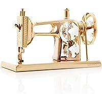 Maquina de coser bañada en oro de 24 quilates incrustados con auténticos cristales Matashi