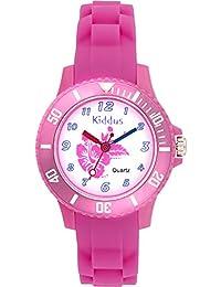 Orologio bambino ragazza, quarzo analogico, impermeabile, con FIORE ROSA, meccanismo di qualità Seiko, batteria Sony, in confezione regalo per compleanno, Kiddus KI10107