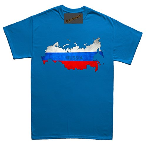 Renowned Russia Flag Map Grunge Unisex - Kinder T Shirt Blau