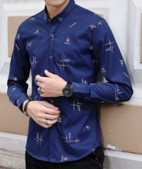 La Camicia A Maniche Lunghe Lettere Stampate Camicia _ Slim Royal Blue