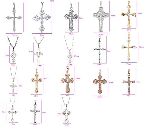 Akki Damen Herren Kreuz Halskette Kette mit und Ohne Zirkonia Strass Steine 925 Silber versielbert Rosegold Gold Kleine große Anhänger mit Kette Set Angebot