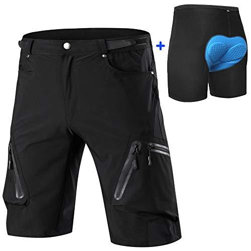 ALLY MTB Hose Herren Radhose, Wasserabweisend Mountainbike Kurz, Outdoor Sport Fahrradhose Herren Shorts (Schwarz mit gepolstert, L (Taille: 30.5