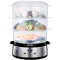 Aicok Vaporiera 9 Litri BPA Free Vaporiera Elettrica con temperatura del display a led e tempo regolabile, Vaporiera da 800 W per riso, verdure,  pollo e pesce, Nero.