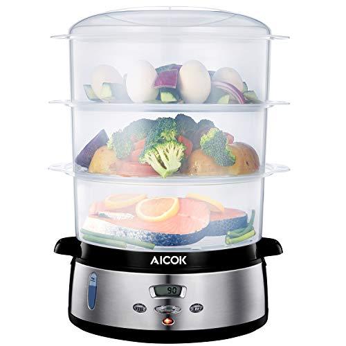 Aicok Digitaler Dampfgarer mit LCD Timer, Aromaverstärker, 3-Etagen Stapelkörbe (9L, 800W, BPA frei, Edelstahl)