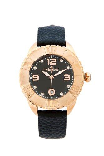 Oskar Emil Celine RG - Reloj analógico de cuarzo para mujer, correa de cuero color negro