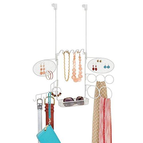 mDesign - Organizador colgante, para bijouterie, con estante; guarda anillos, aros, pulseras,...