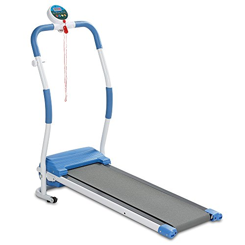 maxVitalis Elektro-Laufband für Einsteiger mit motorisiertem Anti-Rutsch-Laufband bis 6km/h klappbar belastbar bis 100 kg Trainingscomputer Sicherheitsclip Weiß/Blau