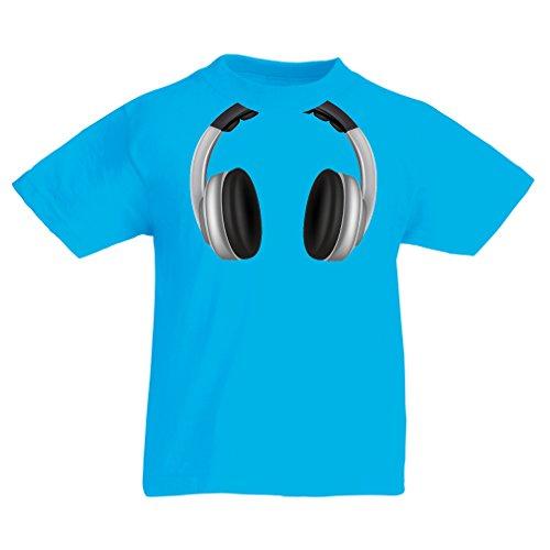 Kinder T-Shirt Coole Kopfhörer - Musik Rock And Roll DJ Kleider (12-13 years Hellblau Mehrfarben)