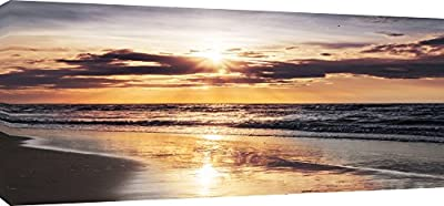 MOOL 42 x 20-inch Large Sunset over the Baltic Sea Canvas Wall Art Print Hand Stretched on a Wooden Frame with Giclee Waterproof Varnish Finish Ready to Hang produced by MOOL - quick delivery from UK.