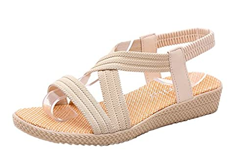 Minetom Damen Sommer Mode Einfarbig Sandalen Gladiator Sandals Flats Schuhe Strand Offene Sandalen Aprikose EU (Erwachsen Netzstrumpfhose)
