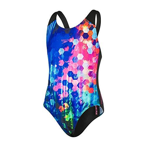 Speedo Mädchen PopFlash Placement Digital Spashback Badeanzug Schwarz/New Surf/Rosa-Violett ()