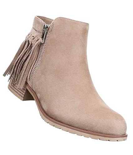 Das Ankle Senhoras Boots Bege Preto Sapatos Franjas Carregadores ad6Fqa