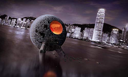 Kunst Druck Sci Fi Scene Kugel Leuchten Erstkontakt Leinwand Poster Tapete Mousepad Acrylglas Alu-Dibond Aufkleber (120 x 72 cm, Tapete selbstklebend)