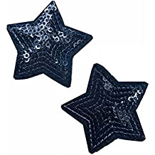 parches-estrella con lentejuelas negra -termoadhesivos bordados aplique para ropa,después de plancharlo, cósalo a mano2pcs