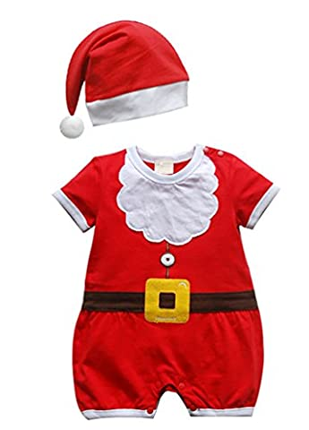 Bébé Père Noël Chapeaux - CHENGYANG Barboteuses Père Noël imprimé Printemps Automne