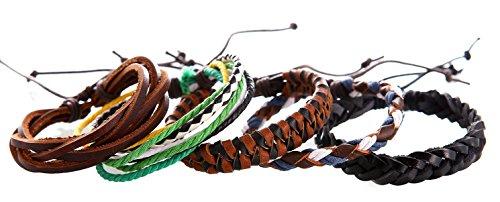 freundschaftsbaender leder DonDon® geflochtenes Lederarmband und Stoffarmband SET 5 Armbänder