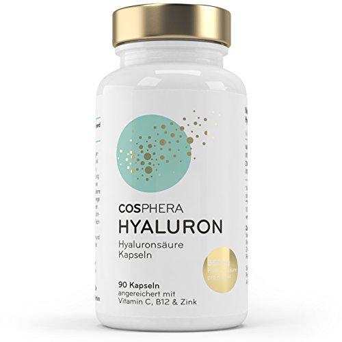 Hyaluronsäure Kapseln – Hochdosiert mit 350 mg pro Kapsel. 90 vegane Kapseln im 3 Monatsvorrat – 500-700 kDa – Angereichert mit Vitamin C, B12 und Zink – Für Haut, Anti-Aging und Gelenke – Cosphera - 3