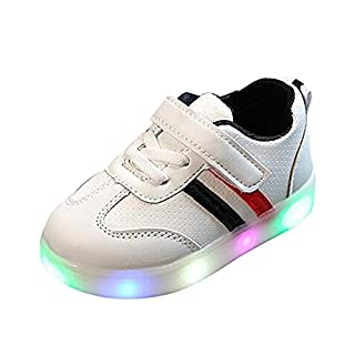 Kids Shoes, Anglewolf Cute Children Kids Girls Zip Crystal LED Light up Luminous Sneakers Baby Lovely Casual Comfortable Shoes(Red_Thick,5.5 UK)