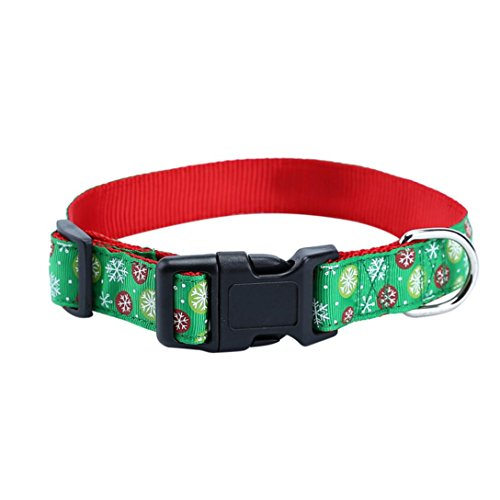 Weihnachten Hundehalsband, Hmeng Haustier Hunde Halskette Niedlich Verstellbare Hunde Katze Kragen PU Leather Schnalle Halsband Welpen Hund Welpen Haustier Klassische Halsbänder (XL, Grün) (Halsketten Blinkende Weihnachten)