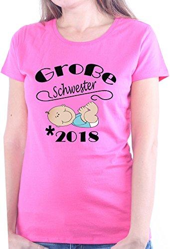 Mister Merchandise Ladies Damen Frauen T-Shirt Große Schwester - 2018 Geburt, Schwanger Tee Mädchen Bedruckt Pink, M (Schwester Womens Große T-shirt Pink)