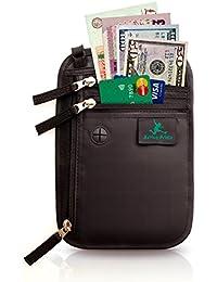 Portadocumentos de cuello - Bolso de viaje para el cuello - Porta Pasaporte de cuello con Bloqueo RFID - Cartera de Viaje Anti Robo para Mujeres, Hombres y Niños