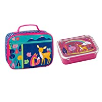 Stephen Joseph Children Lunch Box Set- Woodland Design | Kids Insulated Lunch Bag with plastic lunch box