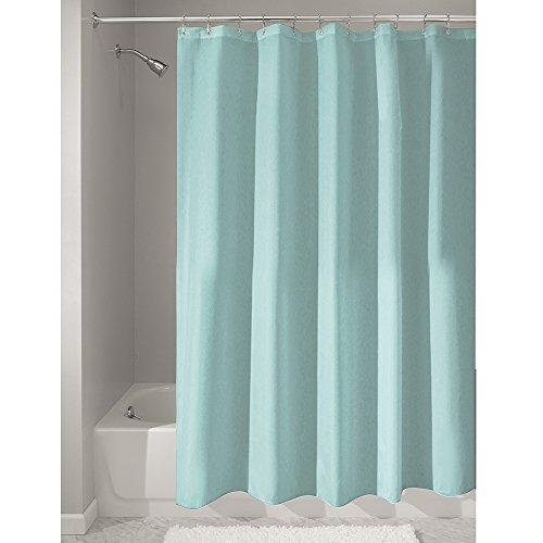 InterDesign Duschvorhang aus Stoff | wasserdichter Duschvorhang mit verstärktem Saum | waschbarer Textil Duschvorhang in der Größe 180,0 cm x 200,0 cm | Polyester mint Stoff Dusche Vorhang Grün