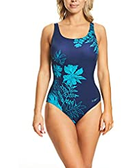 Zoggs Women's Santorini Adjustable Strap Scoopback With Foam Cups and Tummy Control One Piece Swimsuit