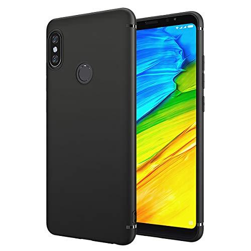 EIISSION Case Kompatibel mit Xiaomi Redmi Note 5 Pro/Redmi Note 5 Hülle, Schutzhülle aus TPU Material Matter Ultra Dünn Silikon Schwarz Schutzhülle Handyhülle für Redmi Note 5 Pro 5.99