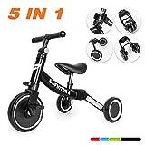 besrey Tricicli 5 in 1 Triciclo per Bambini / Triciclo Senza Pedali/ Bicicletta Senza Pedali,Nero,per Bambini da 1-5 Anni