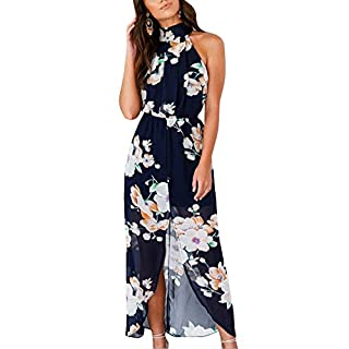 Anyu Womens Halter Neck Floral Print Summer Beach Split Maxi Dress Blue XL