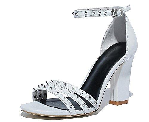 Beauqueen Open-Toe cinturini alla caviglia Rivet decorazioni Chunky media sandali tacco donne semplici casuali della spiaggia lavoro Sandali eleganti Europa formato 34-39 White