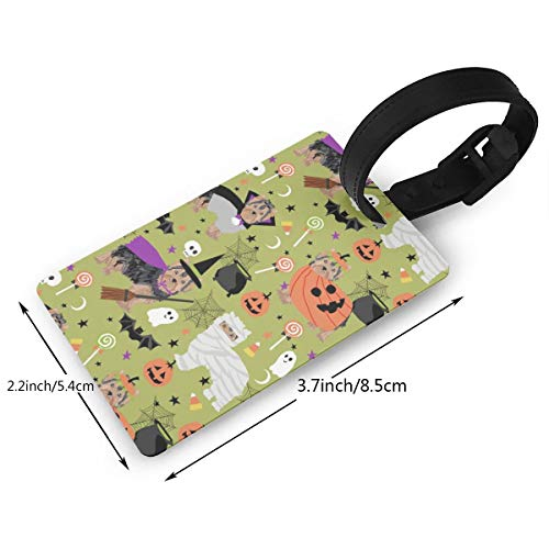 Yorkshire Terrier Halloween Costumes Cute Dog Fabric Fall Autumn Green Luggage Tags travel Bag Tags Thick PVC 2.2 X 3.7 inch