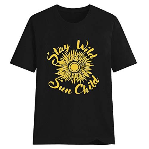 LILIGOD Sommer Damenmode T-Shirt Sunflower Graphic Tee Tops Herz Gedruckt Kurzarm T-Shirt Cotton Rundhalsausschnitt T-Shirt Lose Bequem T-Shirt Blouse Elegant Wild Oberteile Tops