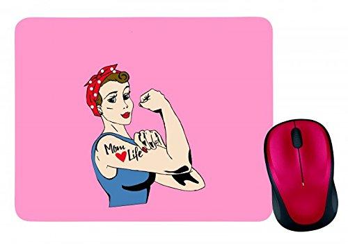 "Mauspad \""MUTTER- TÄTOWIERUNG- ROSIE- KETTENNIETER- JAHRGANG- RETRO- FEMINISMUS- FRAU- COMIC\"" in Pink | Mousepad - Mausmatte - Computer Pad - Mauspad mit Motiv"