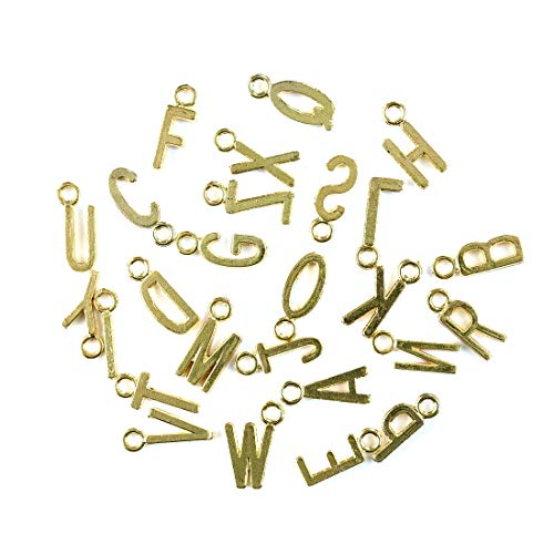 OBSEDE Golden Tone 'A-Z' Alphabet Buchstaben Charms Anhänger Cursive Initial Personalisierte Runde Disc Charms ()