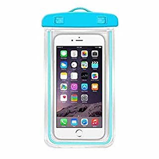 Nunubee 10.5*19CM Luminous Waterproof Bag Watertight Sealed System Pouch Touch Responsive Universal for All Cellphones Blue