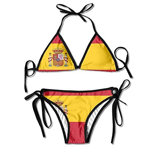 Vidmkeo 3D Flower Print Spanish Flag Custom Sexy Beach Swimwear Women's Triangle Bralette Bikini Set of 2