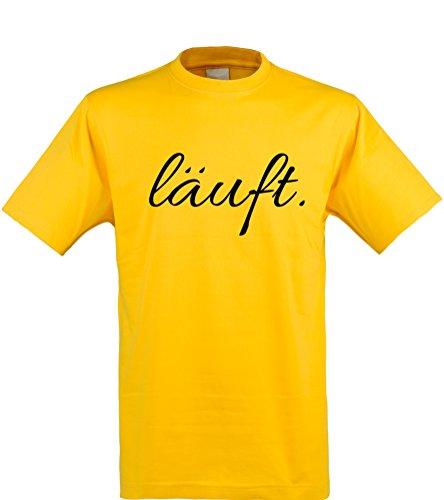 lustiges Herren T-Shirt mit witzigem Spruch, läuft..., Größen S-XXL, cooles Fun-Shirt ideal als Geschenk, gelb, Gr. (Kostüme Läuft)