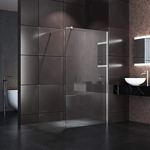 100x195cm Walk in Duschwand, NANO ESG 8mm, Duschtrennwand Glaswand mit Stabilisator