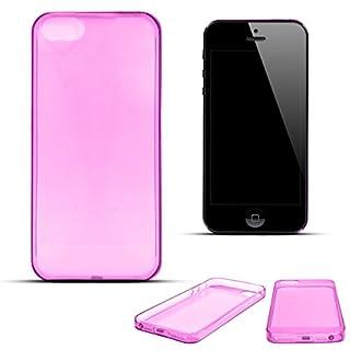 Moozy Dünnste in der Welt Ultra dünne Super Slim Premium Silikon Handy Hülle / Schutzhülle für Apple iPhone 5 5S SE Transparent Rosa