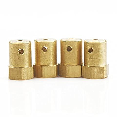 DROK® 4 Packs 3mm Bore Hex Couplage Copper Made Cylindre Motor Shaft Coupleur Connecteur Convient pour DC Gear Motor / Smart Car / RC Modèle de roues