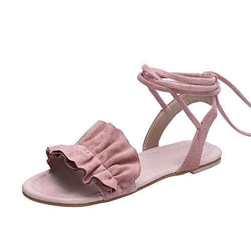 Alaso - Espadrillas da donna, piatte, estivi, con lacci, plateau, scarpe da spiaggia alla moda, punta aperta, 35-43 Rosa 41
